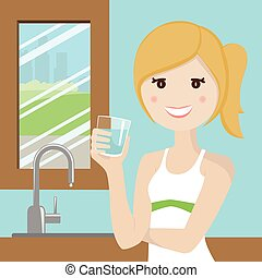 Woman drinking water in the kitchen with town background