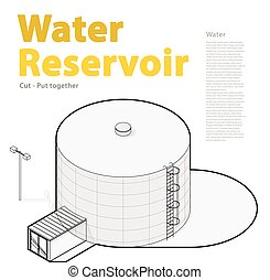 Water tank, outlined cistern. Water treatment isometric...