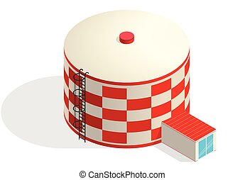 Water tank, red cistern. Water treatment isometric building...