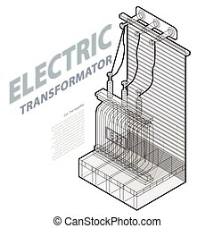 Electric transformer isometric building info graphic....