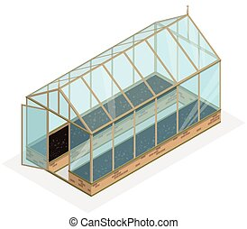Isometric greenhouse with glass walls, foundations, garden...