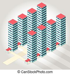 High-rise apartment isometric building illustration for scientific article housing development.