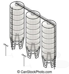 Silo isometric building infographic, big outlined grain seed...