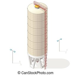 Grain silo, isometric ochre building info graphic on white...