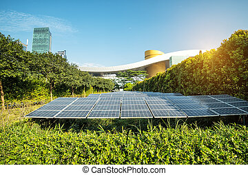 Solar Panels In The Park Of Modern City
