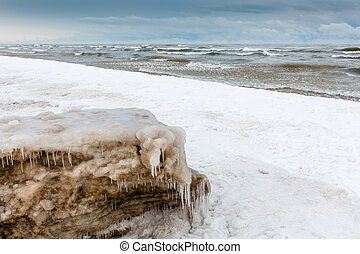 Ice and Snow on a Lake Huron shoreline in December - Snow...