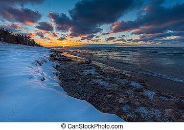 canada,  shoreline, inverno,  -, lago, presto, tramonto,  huron