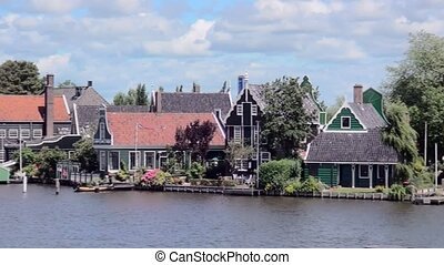 Pan over windmills on Zaanse Schans (Holland). - The Zaanse...