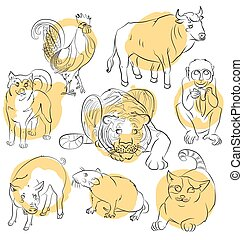 rooster, dog, pig, rat, cat, monkey, tiger and ox
