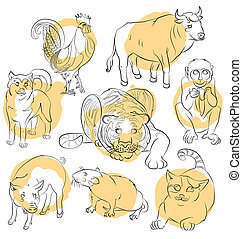 rooster, dog, pig, rat, cat, monkey, tiger and ox - Eight...