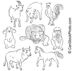 Bull-cock-goat-horse-monkey-pig-rabbit-tiger - image of a...