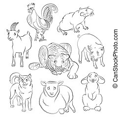 Cock-dog-Goat-pig-rabbit-rat-sheep-tiger - image of a dog,...