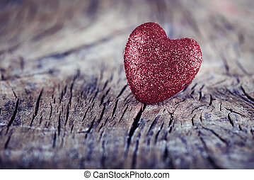 Heart on wooden texture for Valentine