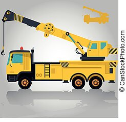 Big yellow crane with hook and arm. Construction machinery...