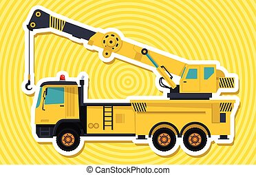 Big yellow crane with hook and arm with white outline....