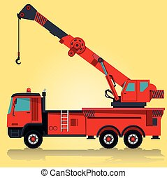 Big red crane with hook and arm. Construction machinery and...