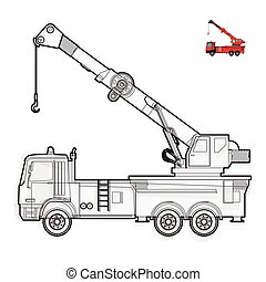 Black and white wire big crane with hook and arm on white....