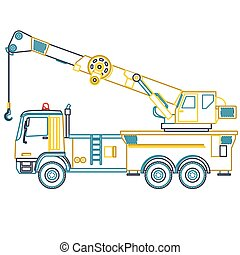 Blue yellow outline crane with hook and arm on white....