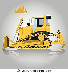 Yellow big digger on white background. Construction...