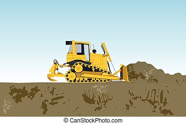 Yellow big digger builds roads excavating of hole, ground...