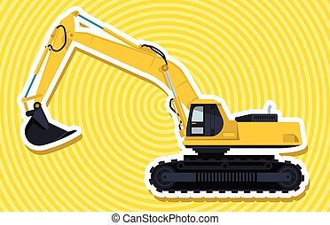 Yellow big digger builds roads with outline. Construction...