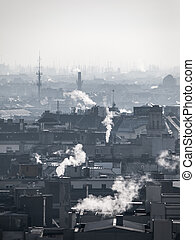 Smog - city air pollution. Unclear atmosphere polluted by...