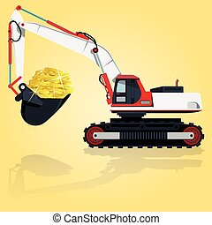 Red and white big digger builds. Construction machinery and...
