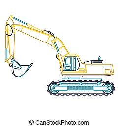 Blue yellow outline big digger builds roads on white....