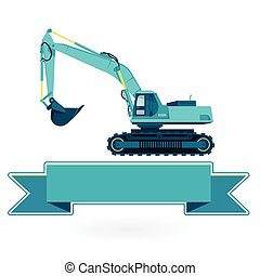 Blue big digger builds roads on white. Construction...