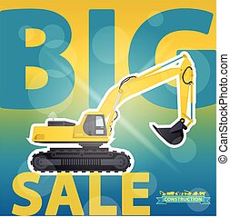 Yellow big digger on sale background. Construction machinery...