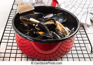 freshly cooked mussels in a red enamel pot - freshly cooked...