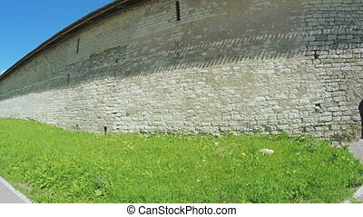 Passage in wall of fortress of Pskov Kremlin - RUSSIA,...