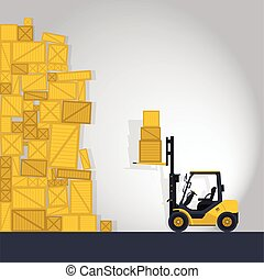 Yellow fork lift loader works in store, comics strip.