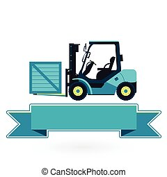 Blue fork lift loader on white. Construction machinery and...