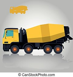 Yellow concrete mixer. Construction machinery and ground...