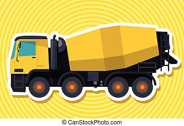 Yellow concrete mixer with outline. Construction machinery...
