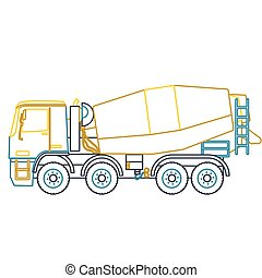 Blue yellow outline heavy concrete mixer builds on white....