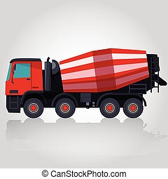 Red big concrete mixer on white. Construction machinery and...
