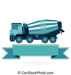Blue concrete mixer on white. Construction machinery and...