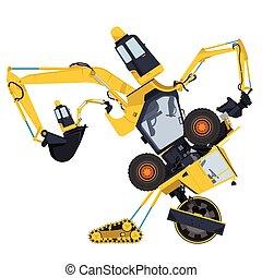 Bizarre yellow machine robot build from ground works...