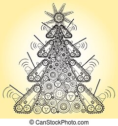 Bizarre machine Christmas tree build from groundworks...