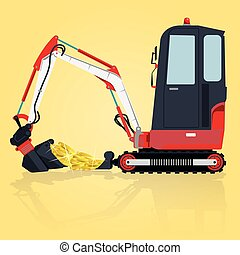 Yellow small digger builds roads, loads golden coins. Bagger...
