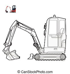 Black and white wire small digger builds roads. Excavator...