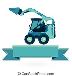 Blue small digger builds roads, loads building material on...