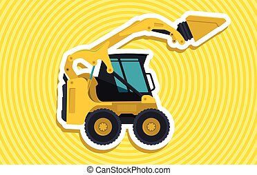Yellow small digger builds roads with outline. Ground works....