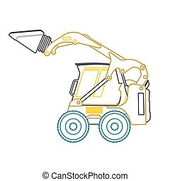 Yellow blue small outline digger builds roads. Excavator...