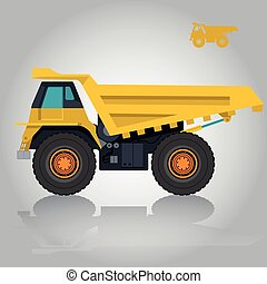 Yellow big truck. Construction machinery and ground works. -...