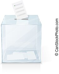 Realistic glass transparent ballot box with marked paper...