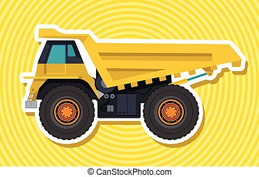 Yellow big truck builds roads with outline. Construction and...