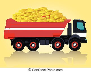 Red and white big truck is taking golden coins. Digging of...